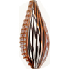 Murano Glass Bead, Maroon White Sculpted Teardrop Blown 65mm