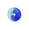 Aqua Blue Bi-color Blown Cipollina Venetian Glass Bead 15mm