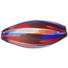 Multi Red, Blue Oval Blown Bead Aventurina