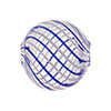 Blue, White Spiral Lines Murano Glass Blown Beads 20mm Round
