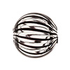 Black, Clear Venetian Glass Bead Blown 20mm Straight Stripes, Round