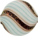 Murano Glass Bead Blown Round 30mm Aqua with Black Coral Dichroic Spiral