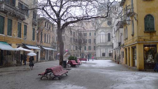 A small square with snow, Venice Italy