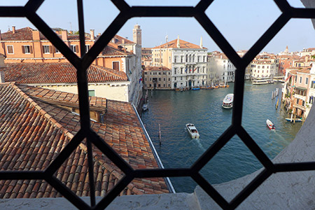 Looking out Ca' Rezzonico Venice Italy