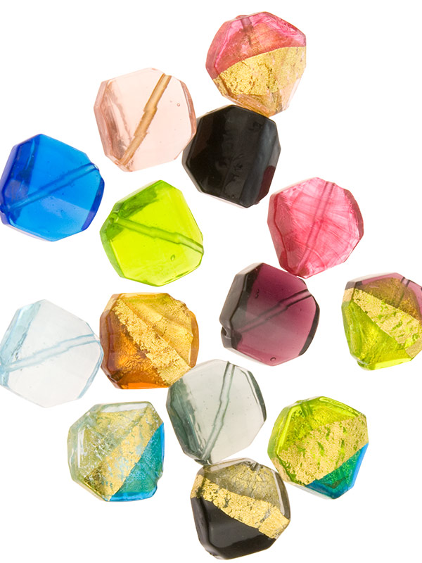 Faceted Twisted Murano Glass Beads