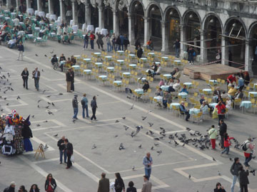 Enjoy sitting outside in historic San Marco Plaza