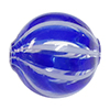 Cobalt and White Venetian Glass Bead Blown 20mm Straight Stripes, Round