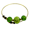 Murano Glass Bracelet, Memory Wire Gold Tone, 3 Beads Green Gold Foil