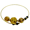 Murano Glass Bracelet, Memory Wire Gold Tone, 3 Beads Light Topaz