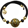 Black and Gold Calcedonia Murano Glass Bead Wrap Bracelet, One Size