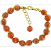 Orange Murano Glass Bead Bracelet 7.5 Inch  with 1 1/4 Inch Extender, Gold Tone Clasp Authentic Murano Glass Beaded