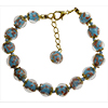 Turquoise Murano Glass Bead Bracelet 7.5 Inch  with 1 1/4 Inch Extender, Gold Tone Clasp Authentic Murano Glass Beaded