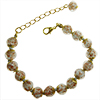 Light Gray Murano Glass Bead Bracelet 7.5 Inch  with 1 1/4 Inch Extender, Gold Tone Clasp Authentic Murano Glass Beaded