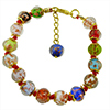 Multi Colors Murano Glass Bead Bracelet 7.5 Inch  with 1 1/4 Inch Extender and Red Cord, Gold Tone Clasp