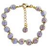 Light Blue Murano Glass Bead Bracelet 7.5 Inch  with 1 1/4 Inch Extender, Gold Tone Clasp Authentic Murano Glass Beaded