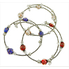 3 Stacking Wrapped Bracelets Red, White, Blue Murano Glass Beads, Silver Tone