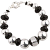 Sterling Silver and Black Murano Glass  Beads Bracelet 7 1/2 Inch