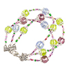 Murano Glass 3 String Bracelet Spring Colors, 6 1/2 Inches