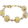 Ca'd'oro Viola Cube Murano Glass Bracelet 6 1/2 Inches with 2 Inch Extension