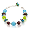 Nicola Lampwork Colorful Carnevale Murano Glass Bracelet 7 Inches