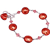 Rubino Pink Murano Glass Bead Bracelet 8 Inches with 1 Inch Extension