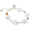 Clear with White Millefiori Murano Glass Bead Bracelet 6 Inch with Extension