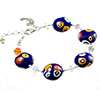 Cobalt Blue  with Multi Millefiori Murano Glass Bead Bracelet 6 Inch with Extension