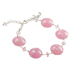 Pink with Pink Millefiori Murano Glass Bead Bracelet 6 Inch with Extension