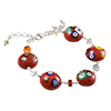 Red with Multi Millefiori Murano Glass Bead Bracelet 6 Inch with Extension