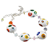 White with Multi Millefiori Murano Glass Bead Bracelet 6 Inch with Extension
