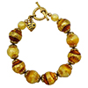 Topaz Skies Murano Glass Bracelet 6 1/2 Inches Gold Plated Pewter Components