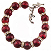 Red over 24kt Gold Foil Murano Glass Beads with Sparkly Rondelles 7 Inches