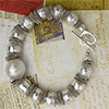 Satinato Cristallo Murano Glass Silver Foil Bracelet with Sterling Silver Heart Toggle 8 Inch