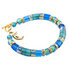 Aqua Curved Tube Murano Glass Beaded Bracelet 7 1/4 Inch