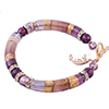 Purple Skies Curved Tube Murano Glass Beaded Bracelet 7 1/4 Inch