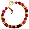 Shades of Red Curved Tube Murano Glass Beaded Bracelet 7 1/4 Inch