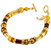 Topaz Skies Curved Tube Murano Glass Beaded Bracelet 7 1/4 Inch