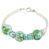 Aquamarine Machiavelli Murano Glass Beads Curved Tube Bracelet 7.5 Inch