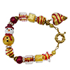 Red Tie Snowman Gold Murano Glass Bead Bracelet, 7 Inches