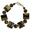 Black and Steel Gray Sole Authentic Murano Glass Beads Bracelet, 7.5 Inches