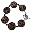 Black and Avventurina Sommerso Discs Bracelet, Murano Glass Bracelet 7.5 Inches