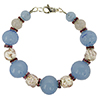 Pink and Blue Spring Colors Bracelet Murano Glass Beads 7 Inches