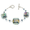 Aqua and Dichroic Sparkles Murano Glass Beads Bracelet 7 1/2 Inch