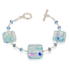 Aquamarine Dichroic Sparkles Murano Glass Beads Bracelet 7 Inch with Extender