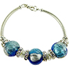 Aqua and Cobalt Blue Machiavelli Bling Curved Tube Bracelet 7.5 Inch Murano Glass