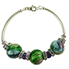 Aqua Amethyst and Gray Machiavelli Murano Glass Bling Curved Tube Bracelet 7.5 Inch