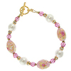 Oval Pink Decorated Serenissima Murano Glass Bead Bracelet 7 1/4 Inch