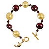 Red and Gold Foil Murano Glass Disc Bracelet 7 1/4 Inch