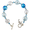 Murano Glass Bracelet Aqua Silver Foil Disc Beads 7.5 Inches