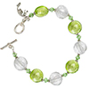 Green and Clear Sterling Silver Foil Murano Glass Disc Bracelet 7 1/4 Inch